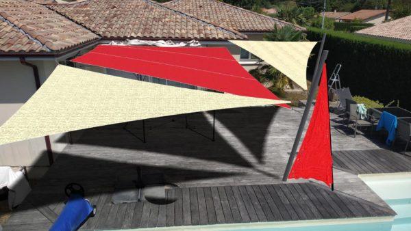 grande terrasse piscine voile